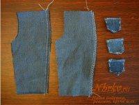 Обработка бокового шва брюк для куклы.