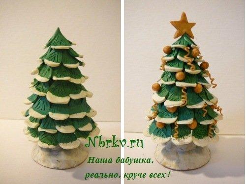 Новогодняя елка из пластилина