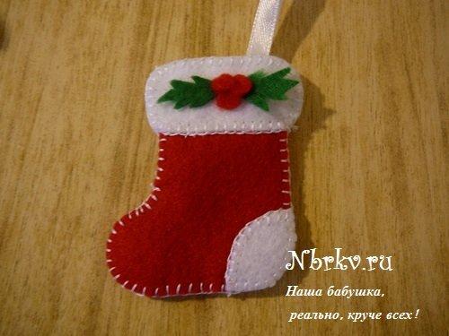 Новогодние поделки из фетра. Рождественский носок.